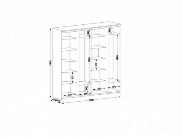 Схема шкафа купе Элит 4-х дверный зеркальный 2360