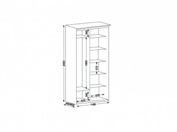Шкаф купе Элит 2-х дверный с зеркалами ширина 118 см